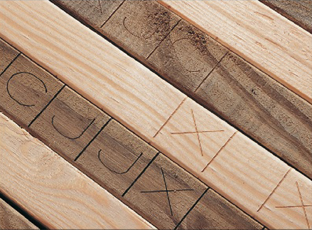 laser marked lumber